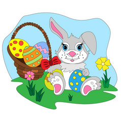 Cartoon easter bunny with egg basket vector