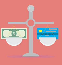 cash and non-cash scale vector image