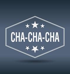 Cha-cha-cha hexagonal white vintage retro style vector