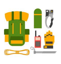 Climbing trekking equipment set vector