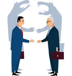 Deceiving businessmen shaking hands vector