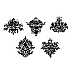 Decorative elements of damask pattern vector image
