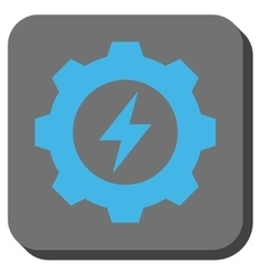 Electric energy gear rounded square button vector