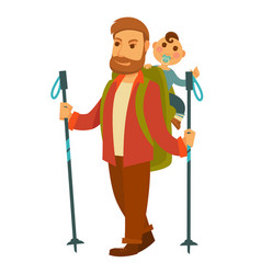 father goes hiking with baby son and huge backpack vector image