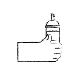 Figure hand with aerosol spray paint art vector