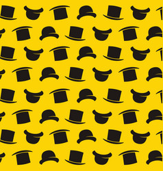 gentleman pattern with bowler hat cartoon style vector image