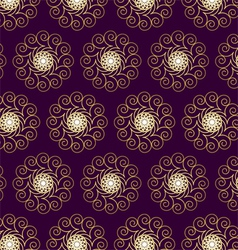 Gold flower and swirl pattern on dark purple vector