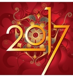 Happy new year 2017 with ornate background vector image