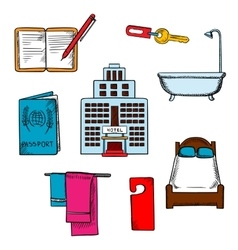 Hotel service and travel objects vector image