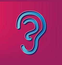 Human anatomy ear sign blue 3d printed vector