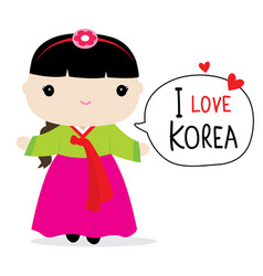 korea women national dress cartoon vector image vector image