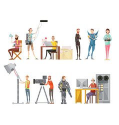 Making movie flat style set vector
