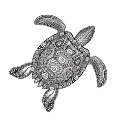 Ornate turtle in tattoo style isolated on white vector image vector image