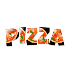 pizza in text- vector image vector image