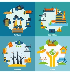 Pollution And Ecology Set vector image