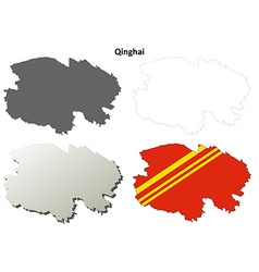 Qinghai blank outline map set vector