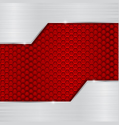 Red metal perforated background with brushed vector