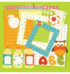 School scrapbook set vector