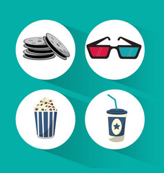 Set cinema film movie icons vector
