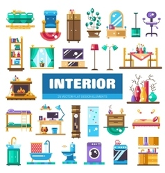 Set of modern flat design interior icons and vector image