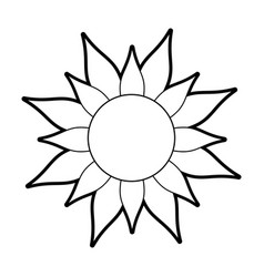 Sketch silhouette image sun in flower figure vector