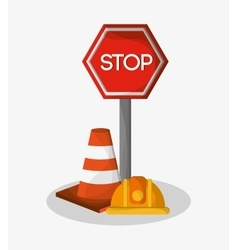 Stop cone and helmet of under construction design vector