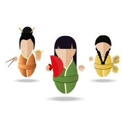 Three Asian girl vector image