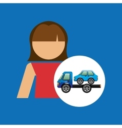 Towing truck girl design graphic vector