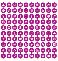 100 astronomy icons hexagon violet vector