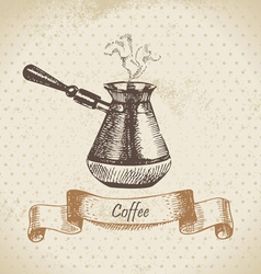 Coffee pot hand drawn vector