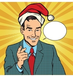 Christmas businessman pointing finger vector