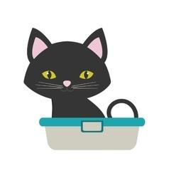 Small cat sitting grooming pet bathtub vector
