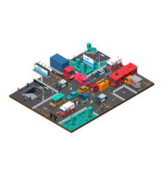 Accident on crossroad isometric vector