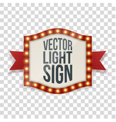 Illuminated sign with bulbs and decorative ribbon vector