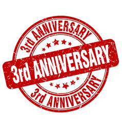 3rd anniversary red grunge stamp vector