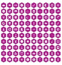 100 astronomy icons hexagon violet vector
