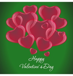Many red hearts on a green background Valentines vector image