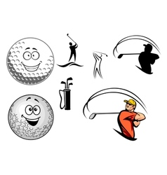 Golf equipment and players vector