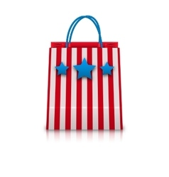 Shopping bag in usa patriotic colors for natioal vector