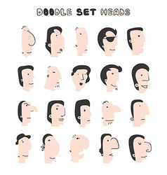 Isolated mens heads with different facial vector