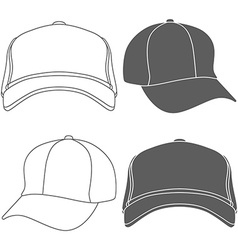 Baseball Cap Outline Silhouette Template isolated vector image vector image
