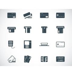 Black credit cart icons set vector