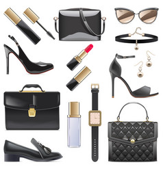 black female accessories isolated on white vector image vector image