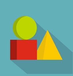 Box of bricks icon flat style vector