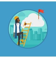 Business woman climbing the ladder vector