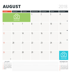 Calendar planner for august 2018 design template vector
