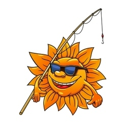 Cartoon sun in sunglasses with fishing rod vector image vector image