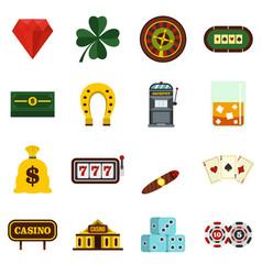 Casino set flat icons vector