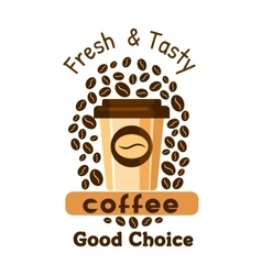 Coffee and beans cafe emblem vector