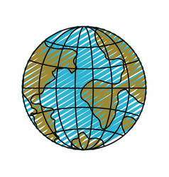 Color crayon silhouette front view globe earth vector